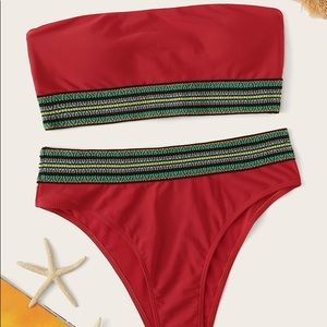 Striped Trim Bandeau Red Bikini swim suit